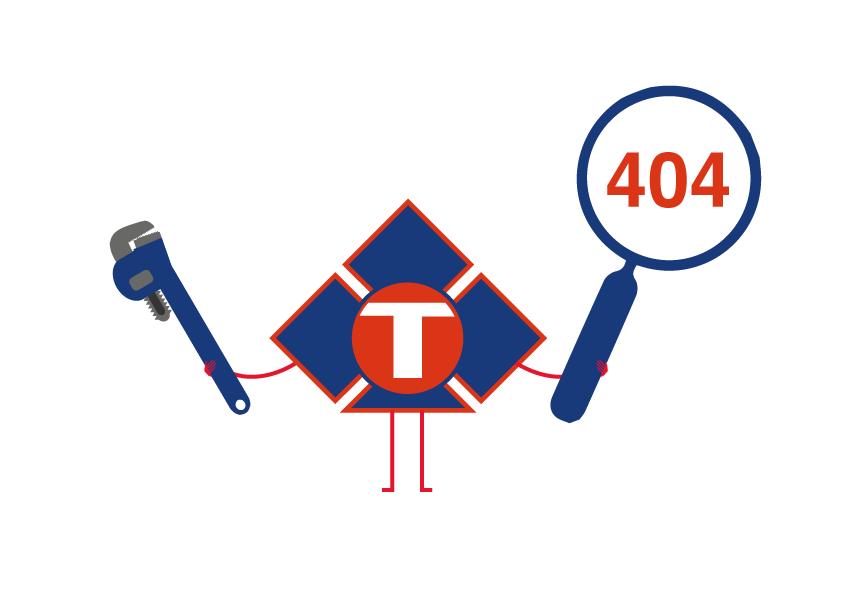 Logotipo de tubesan con una herramienta de fontanería y una lupa